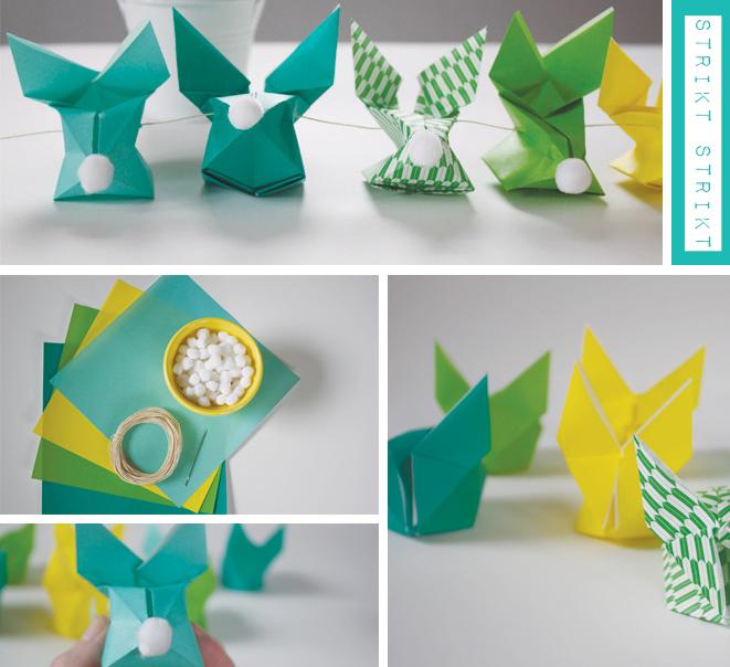 origami dekoracija velyku stalui